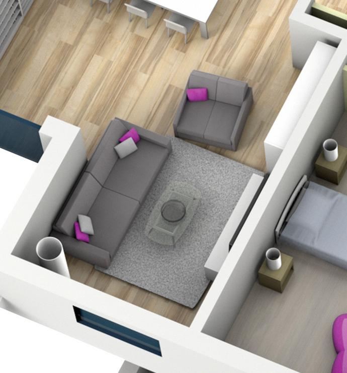 Отдельные комнаты: жилая зона
